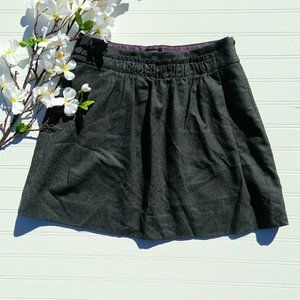 J. Crew gray wool miniskirt with gathered front